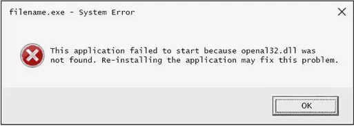 openal32.dll error pop-up