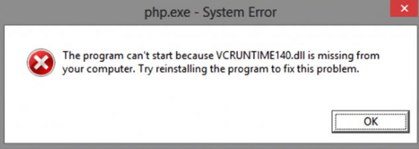 vcruntime140.dll error pop-up
