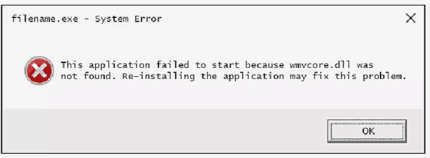 wmvcore.dll Error Pop-up