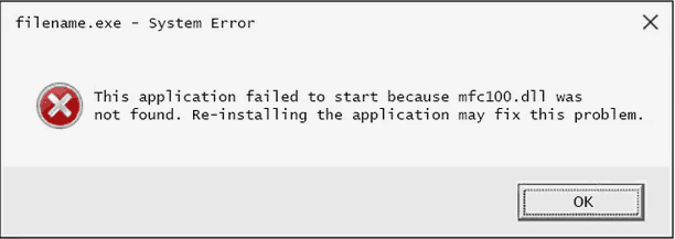 mfc100.dll Error Pop-up