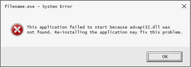 advapi32.dll error pop-up