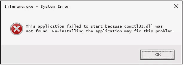 Comctl32.dll Error pop-up